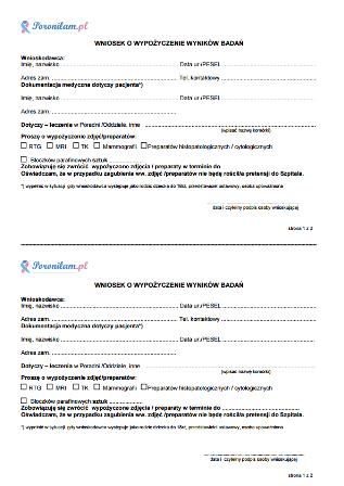Wniosek o wypożyczenie bloczków parafinowych